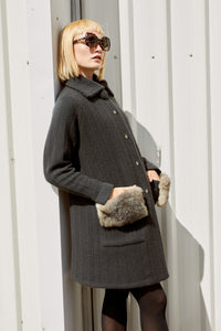Cashmere Possum Herringbone Coat in Slate