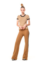 POSSUM SILK MERINO CAP SLEEVE TOP Houndstooth Camel