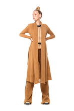 POSSUM SILK MERINO LONG CARDIGAN in Camel