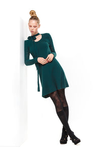 POSSUM SILK MERINO BOW DRESS Green