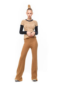 Chloe Leo Jumper in Camel/black