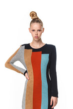 Colour Block Dress in Black Multi