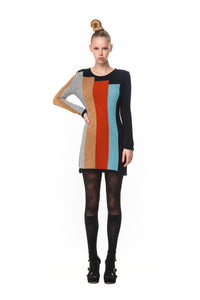 Possum Silk Merino Colourblock Mini Dress