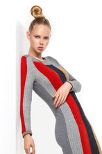 Colour Block Dress in Pewter Multi