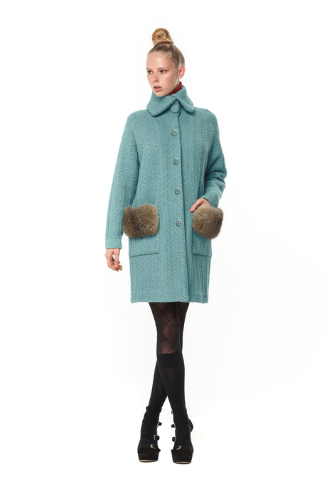 Cashmere Possum Herringbone Coat in Mint