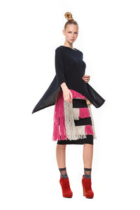 Possum Silk Merino Lace Poncho in Black
