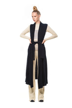 Possum Silk Merino Long Vest in Black