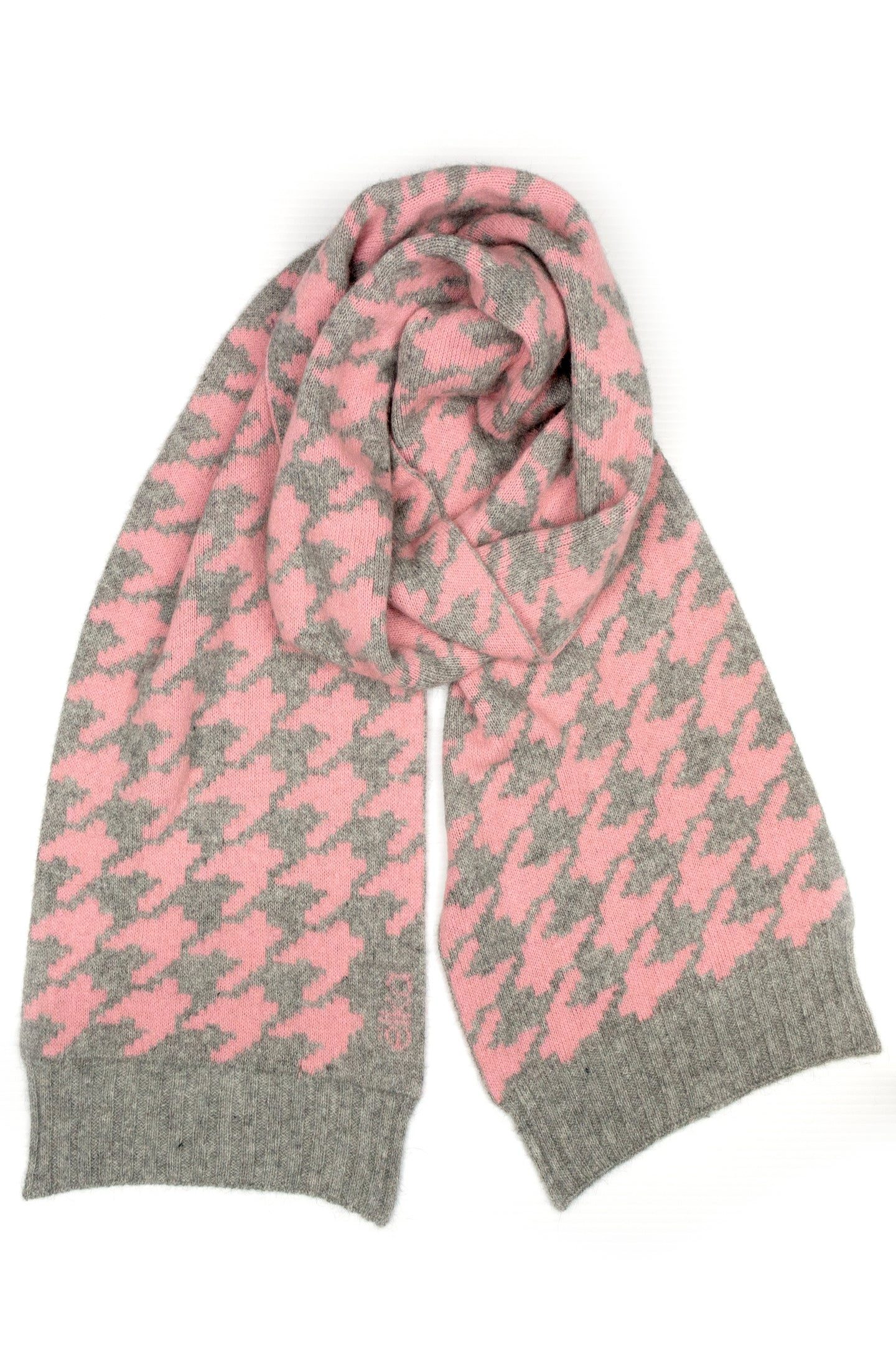 Possum Silk Merino Houndstooth Scarf in Grey Marl and Pearl