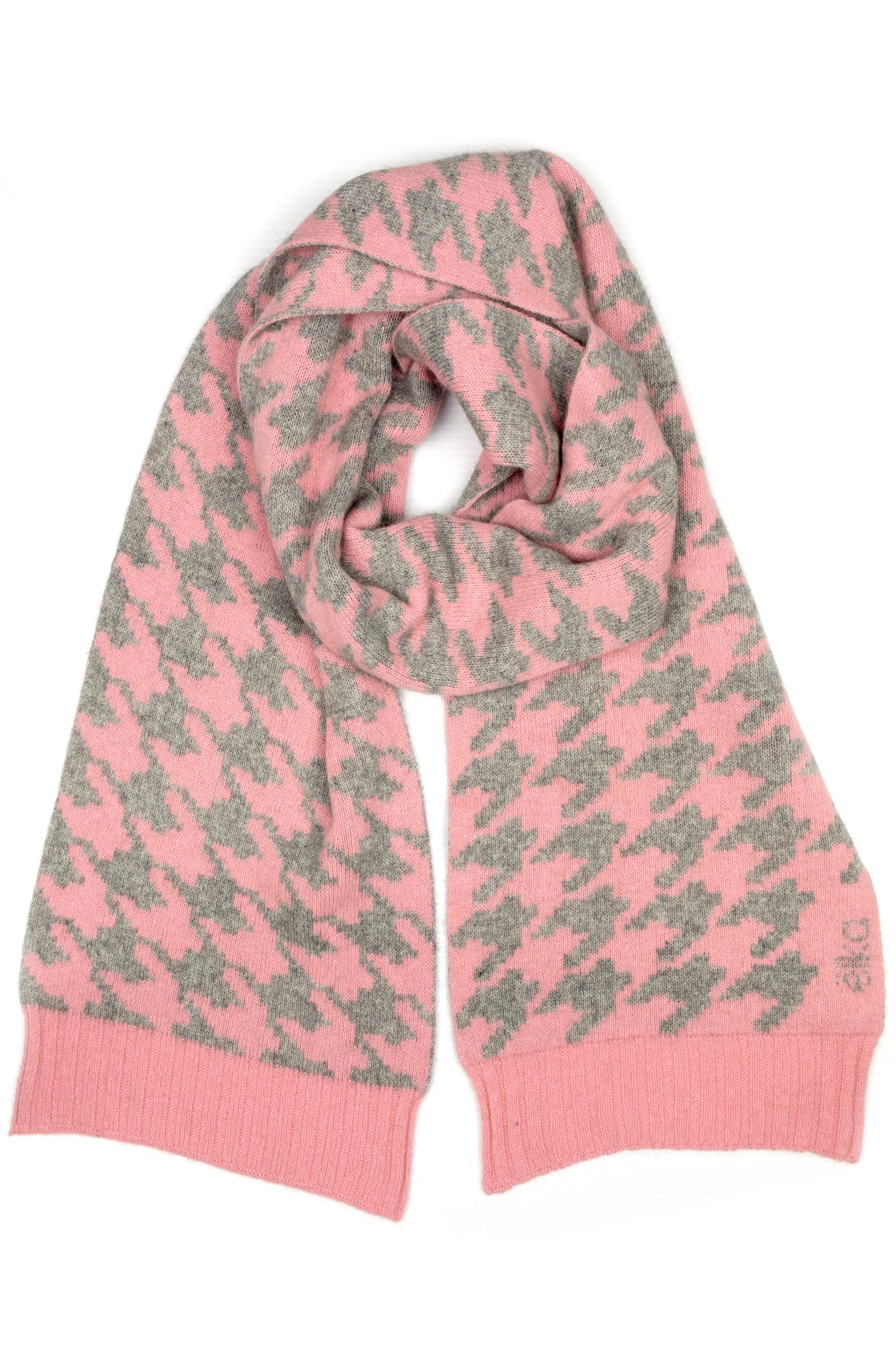 Possum Silk Merino Houndstooth Scarf in Pearl and Grey Marl