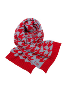 Possum Silk Merino Houndstooth Scarf in Red and Glacier