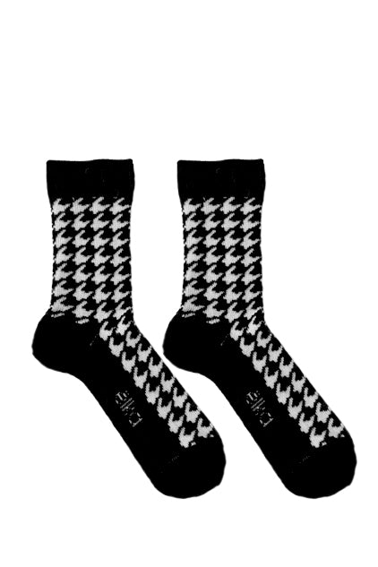 Merino Houndstooth Kids Socks in Black and White