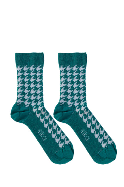 HOUNDSTOOTH KIDS MERINO SOCKS in Jade and White