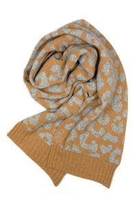 Possum Silk Merino Leo Scarf in Camel and Grey Marl