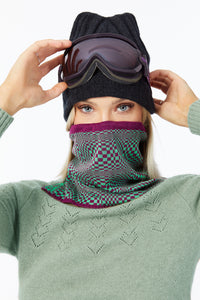 Snood Savvy Berry Green Chessboard