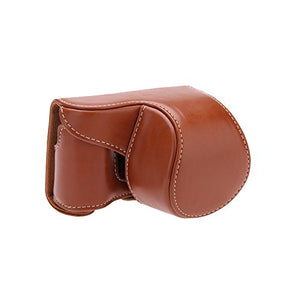 Brown PU Leather Camera Bag Case Cover Pouch With Shoulder Strap for Sony A5000 A5100 NEX 3N Cameras