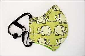 Face Mask - Curious Elephant - Green