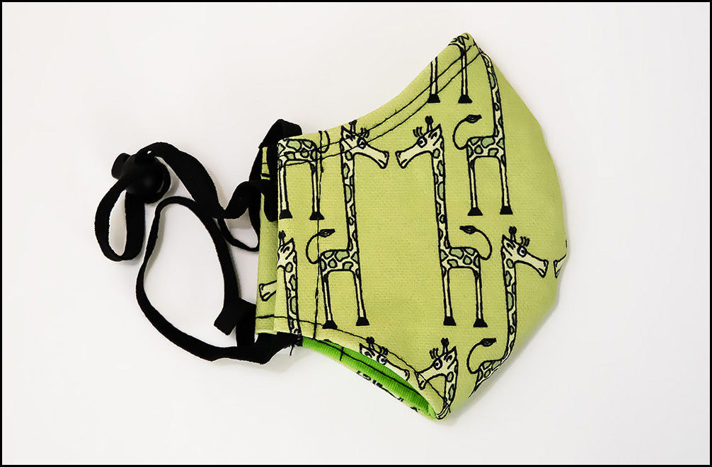 Face Mask - Curious Giraffe - Green