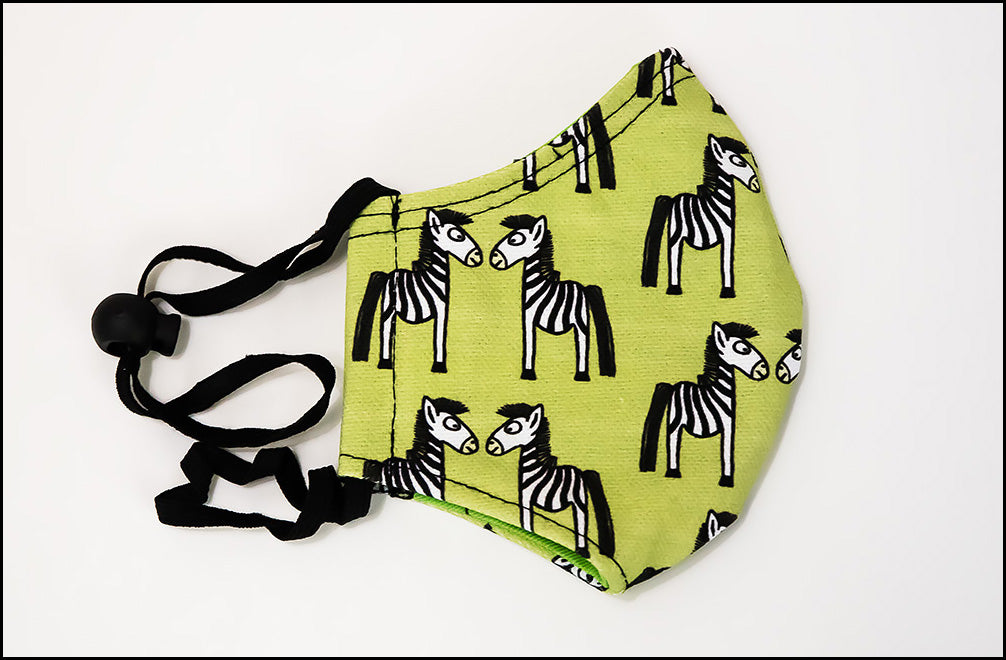 Face Mask - Curious Zebra - Green