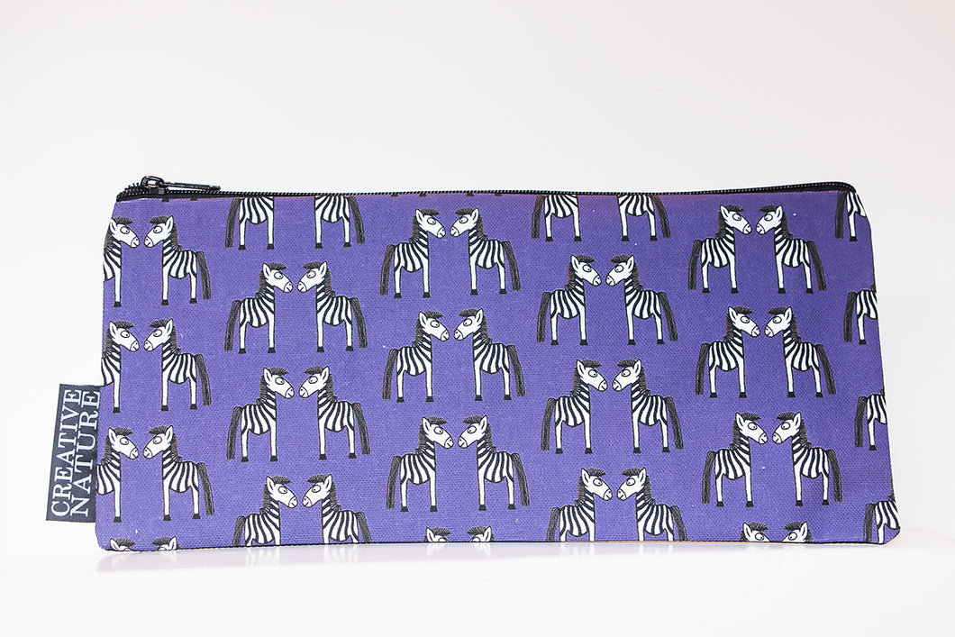 Long Pencil Bag | Curious Creatures | Purple Zebra