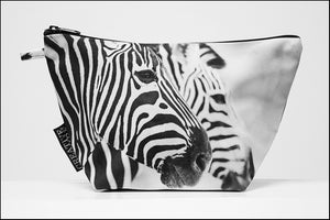 Triangle Toiletry Bag BW Two Zebras