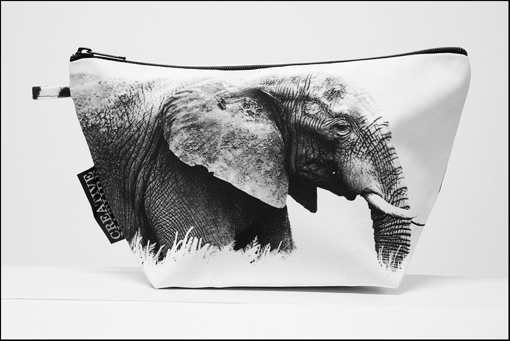 Triangle Toiletry Bag BW Side Elephant