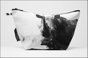 Triangle Toiletry Bag BW White Rhinoceros