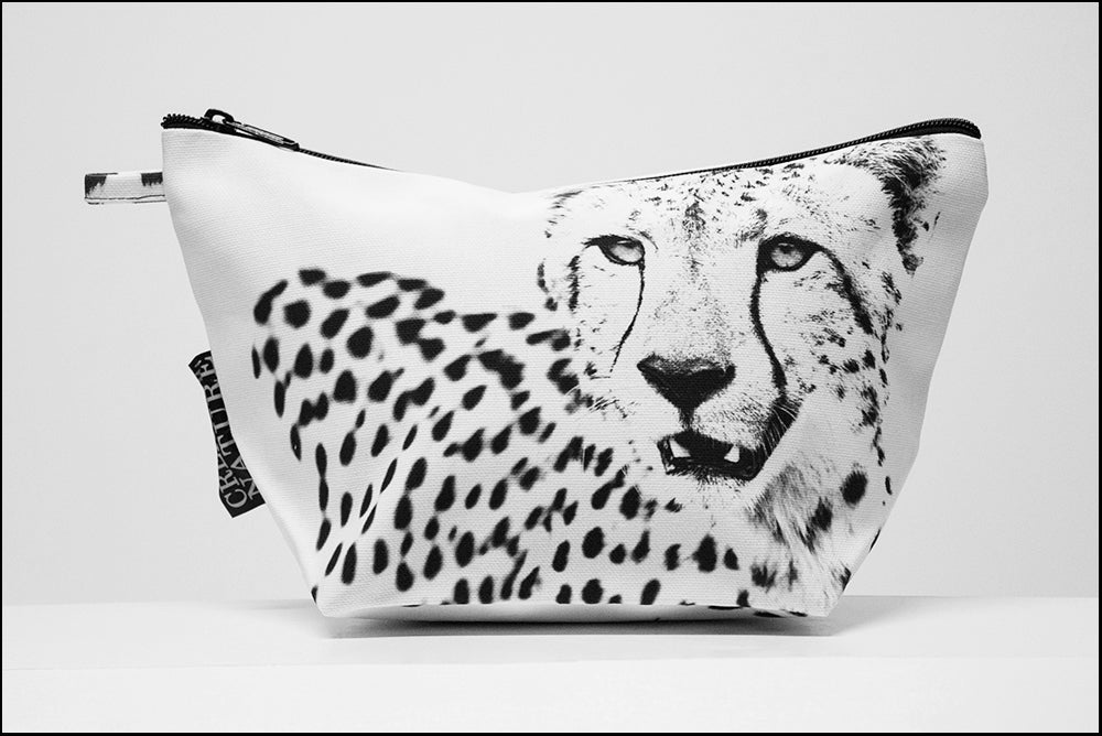 Triangle Toiletry Bag BW Cheetah on White