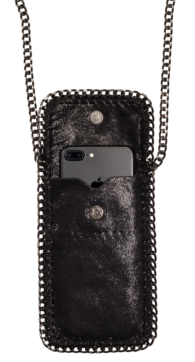 Amy & Aly Crossbody Phone Purse (Black with Chain Trim)