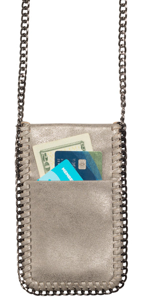 Amy & Aly Crossbody Phone Purse (Silver with Chain Trim)