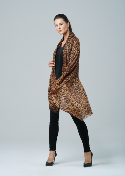 Sofia Cashmere Leopard Camel Featherweight Wrap