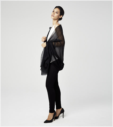 Sofia Cashmere Solid Black Featherweight Wrap