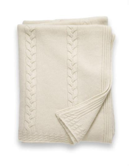 Sofia Cashmere Trentino Throw - (Ivory)