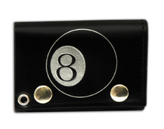 "Tri Fold Leather Wallet with 14"" Chain- 8 Ball"
