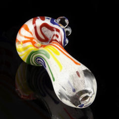 "4.5"" Inside-out rainbow colored strips and marbles Hand Pipe"