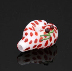 "3.5"" Glassheads White Heart Pipe with Cherries"