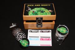 Small Rick and Morty Yellow Letters Bamboo Stash Box Set