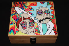 "Large Rick and Morty ""Bad Trip"" Bamboo Stash Box Set- Black Jar"