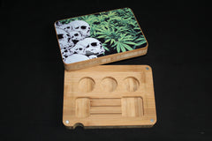 White Skulls Bamboo Dab Rolling Tray