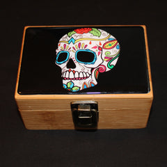 Small White Sugar Skull Bamboo Stash Box Set