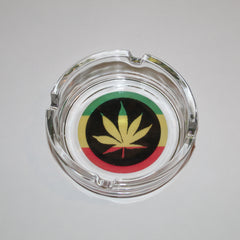 Rasta Leaf Glass Ashtray