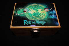 Small Rick and Morty Blue Letters Bamboo Stash Box Set