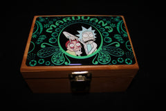 Small Rick and Morty Green Gold Bamboo Stash Box Set