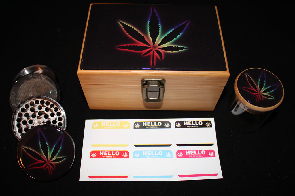 Medium Colorful Flower Bamboo Stash Box Set