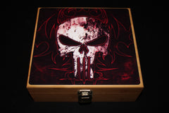 "Large ""Skull"" Bamboo Stash Box Set- Black Jar"