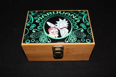 Medium Rick and Morty Green Gold Bamboo Stash Box Set