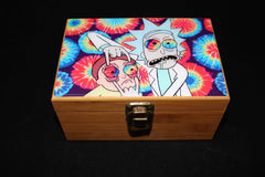 "Medium Rick and Morty ""Tie Dye"" Bamboo Stash Box Set"