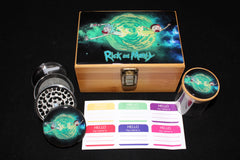 Medium Rick and Morty Blue Letters Bamboo Stash Box Set