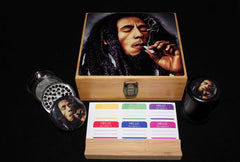 "Large ""Bob Marley Smoking"" Bamboo Stash Box Set"
