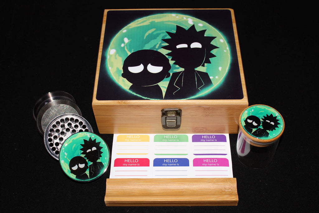 "Large Rick and Morty ""Portal Flash"" Bamboo Stash Box Set"