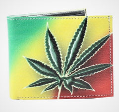Leather Bi-fold Rasta Wallet